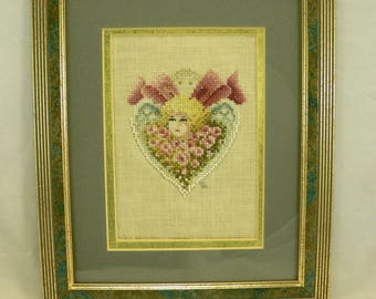 FRAMED CROSS-STITCH: Completed Hand-Embroidered, Heart Design, Ready to Display