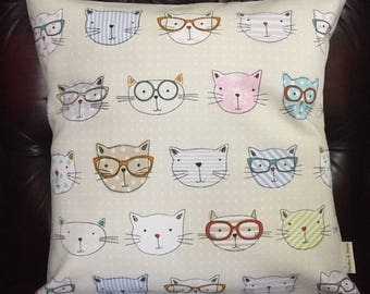 CATS IN GLASSES Cushion Covers [with Cream envelope back ]   16X16