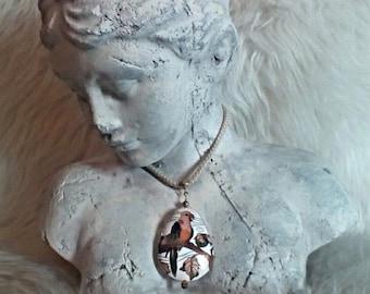 Cloisonne Enamel Parrot Pendant Necklace