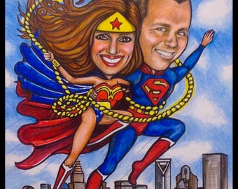WONDER WOMAN and SUPERMAN caricature, valentines caricature, Valentine's Day caricature, personalized caricature