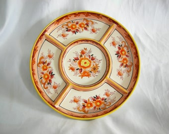 5 Section Divided Condiment Relish Plate Platter | Floral Peony Motif | Made in Japan