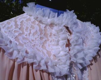Sweet Sassy Salmon Ruffle Gown and Robe Set