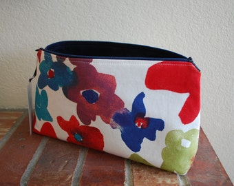Large Fabric Zippered Pouch / Bag with Flat Bottom & Full Lining - Watercolor Floral Fabric with Navy Blue Lining