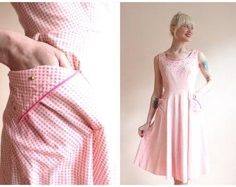 1950s Dress // Gingham Studded Dress // vintage 50s dress
