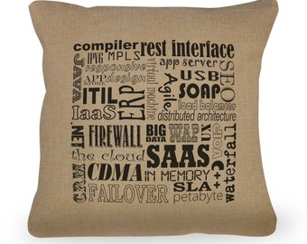 "Computer Typography Pillow Cover - Computer Terms - 18"" x 18"" - Zipper Enclosure - Machine Washable - Great Computer Geek Gift"