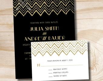 ART DECO GATSBY Rustic Chevron Wedding Invitation and Response Card Invitation Suite