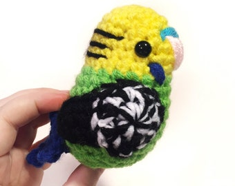 Yellow Budgie - Crochet Budgie Amigurumi Bird - Parakeet Doll - Pet - Gift - Bird Replica - READY TO SHIP