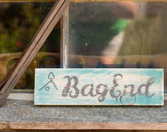 BAG END - Hobbit - Lord of The Rings Home - Rustic Antique - lotr Decor -  Handpainted Sign