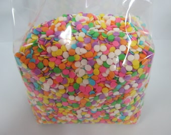"Edible Confetti 3/16"" (5mm) Sequins Sprinkles Pastel Colors 12 oz candy cake decorating"