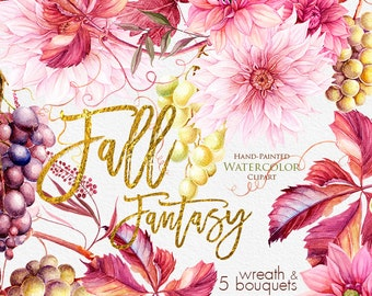 Dahlias Watercolor Fall Wreath Bouquets Clipart Grapes Burgundy Autumn Wedding Invitations