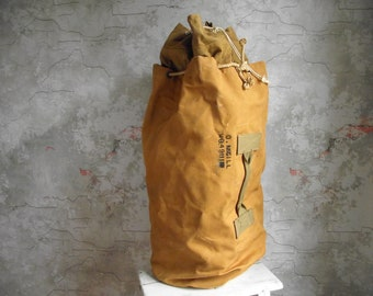 Heavy Canvas Duffel Bag , Vintage Drawstring Canvas Sea Sack , Upright Rope Tie Canvas Sea Bag , Military Duffle Bag