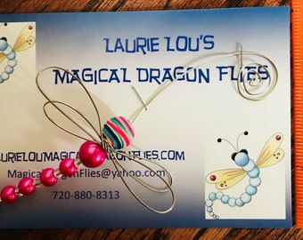 This is a Pink Hand Crafted Magical Dragon Flies, created from LOVE to protect your Journeys.