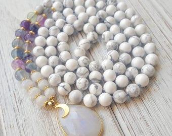 HEALING Moon Goddess Mala White Howlite Mala Beads 108, Fluorite Rainbow Moonstone Mala Beads Moon Mala 108 Hand Knotted Mala Necklace 108