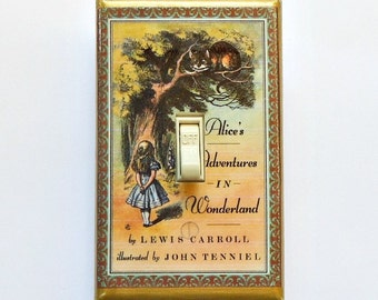 TEN CHOICES Alice vintage book pages Switchplates & MATCHING Screws- We're all mad Alice in Wonderland book Alice switch covers vintage text