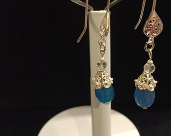 Gemstone earrings, blue Jade &a sterling silver earrings