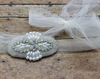 Simple Tulle Rhinestone Headwrap Wedding Headband; Rhinestone Bridal Tulle Tie; Boho Chic Tulle Bridal Head Piece; Alternative Wedding Veil