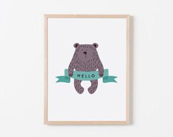 Hello Bear Nursery Art. Nursery Wall Art. Nursery Prints. Nursery Decor. Animal Wall Art. Adventure Nursery. Bear Wall Art. Woodland Nursery