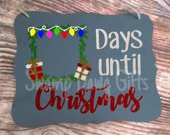 Christmas countdown, Christmas countdown sign, countdown sign, custom countdown, how many days, christmas lights, days until, holiday, vinyl