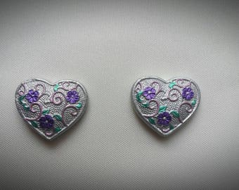 Set of 2 magnets loving heart scrolled bronze or silver