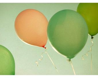 Balloon Photograph - Summer Photography - Fine Art Photography - Felicity - Fine Art Print -Green Art - Children's Decor - Balloon Art Print
