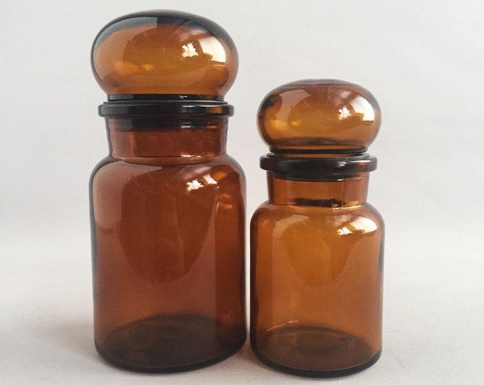 1970s apothecary brown glass jar set
