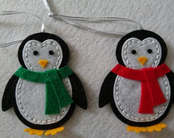 Christmas Tree Decorations - Glittery Penguins