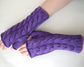 Knitted of 100 % soft MERINO wool. PURPLE fingerless gloves, fingerless mittens, wrist warmers. Handmade.