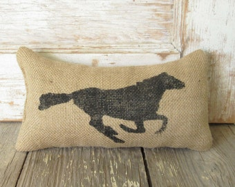 Running Horse -  Burlap Feed Sack Doorstop - Horse doorstop - Horse decor - Door Stop