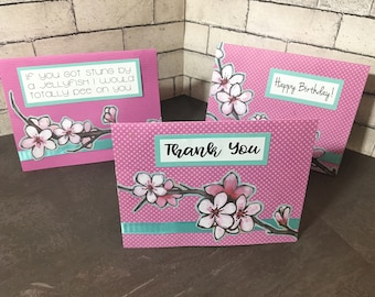 Set of 3 - Cherry Blossom greeting cards (thanks, friendship, and birthday)