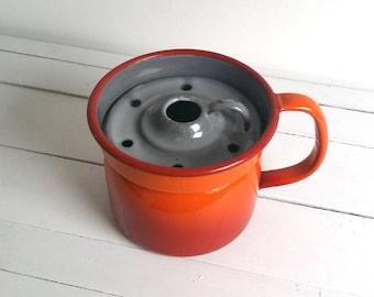 Vintage orange enamelware 'Dutch' milk cooker