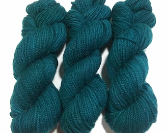Hand Dyed Yarn: OOAK (dark green) - Hinterland Base {100% Wool, non superwash, 210yd, worsted} Suitable for knitting and crochet