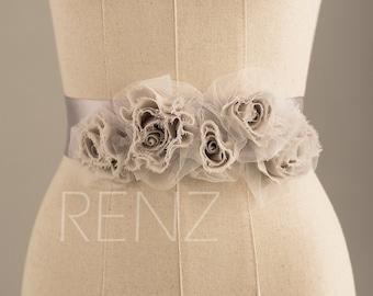 Wedding sash, Bridal belt, Bridal sash, Bridesmaids sash Crystal sash Jeweled Belt, Flower Beading, Tulle Flower (LA018)