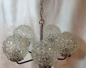 Vintage 5 lite chandelier   / Midcentury / Chrystal glass ball