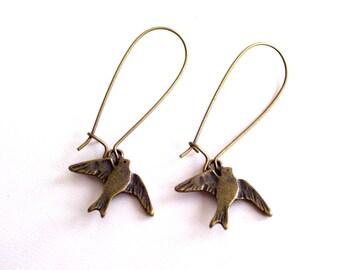 Brass Bird Earrings, Antiqued Brass Little Bird Earrings, Bronze Bird Jewelry, Pierced Dangle Earrings, Nature Earrings