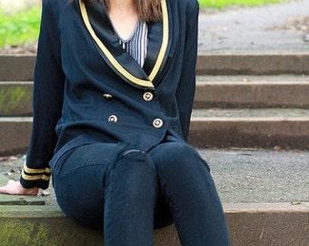 ON SALE Black military jacket with gold trim, size medium