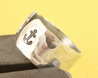 SALE - I Refuse to Sink Anchor Ring - Adjustable Aluminum Ring - Hand Stamped Ring - Sizes 5, 6, 7, 8, 9, 10, 11, 12, 13, 14, 15