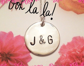 Hand stamped sterling necklace initials