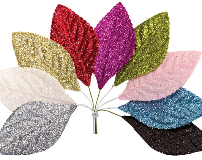 Hot Pink Millinery Glitter Leaves, Hot Pink Corsage Leaves,  10 Pink Leaves, 10 Corsage Leaves, Leaves, Valentines flower decor, Holiday