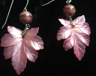 Leaf earrings sterling silver wires hand crafted vintage blush pink