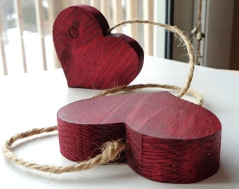 Wood Hanging Hearts Rustic Home Decor Country Farmhouse Valentine's Day Decoration