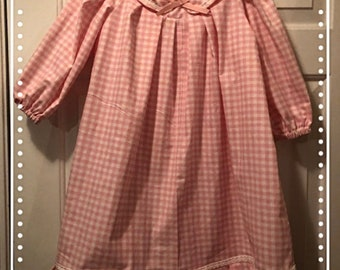 Pink Cotton Gingham Old Fashion VICTORIAN Nightgown. From Girls 2-3 to Womens 5X! Sweet, Quality Hand Made! Added Lace is Optional!