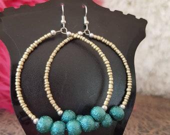 Blue Crystals.  Earrings