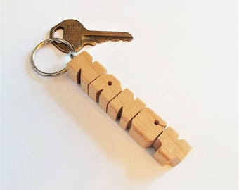 NANCY - Sample Name Keychain in Maple Wood