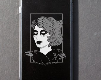 Black Metal Pinup iPhone case Nu gothic Pastel goth Tumblr Aesthetic Dark Fashion illustration 6 6s 6+ 6s+ 7 7+ 8 8+ plus X Spooky Creepy