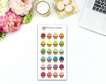 Rainbow Cupcakes // 24 Matte Stickers perfect for Erin Condren, Plum Planner, Filofax and Kikki K