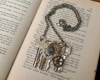 Steampunk Key Necklace- Steampunk Key Jewelry- Steampunk Gear Necklace- Steampunk Assemblage Necklace- Steampunk Gear Jewelry- Steam Punk