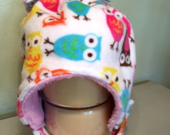 Carnival Owl minky winter hat - double layer - multiple sizes available