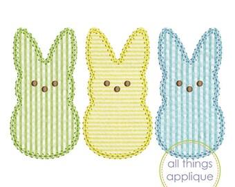 Peep Trio Applique - VINTAGE Stitch - Easter Applique Design (#1098) - 4 Sizes Included - INSTANT DOWNLOAD
