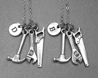 Best friend necklace, tool necklace, hammer necklace, wrench necklace, saw necklace, BFF necklace, best friend gift, best friend jewelry