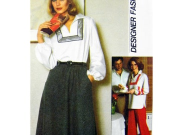 1981 Simplicity 8087 Misses' Pullover Top with Front Slash Opening, Bias Skirt and Pants, Uncut, Factory Folded Sewing Pattern Size 6-8